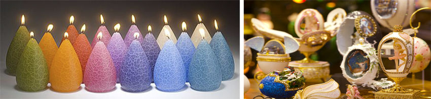 Barrick Design candles and Hand-carved Ornamental Eggs